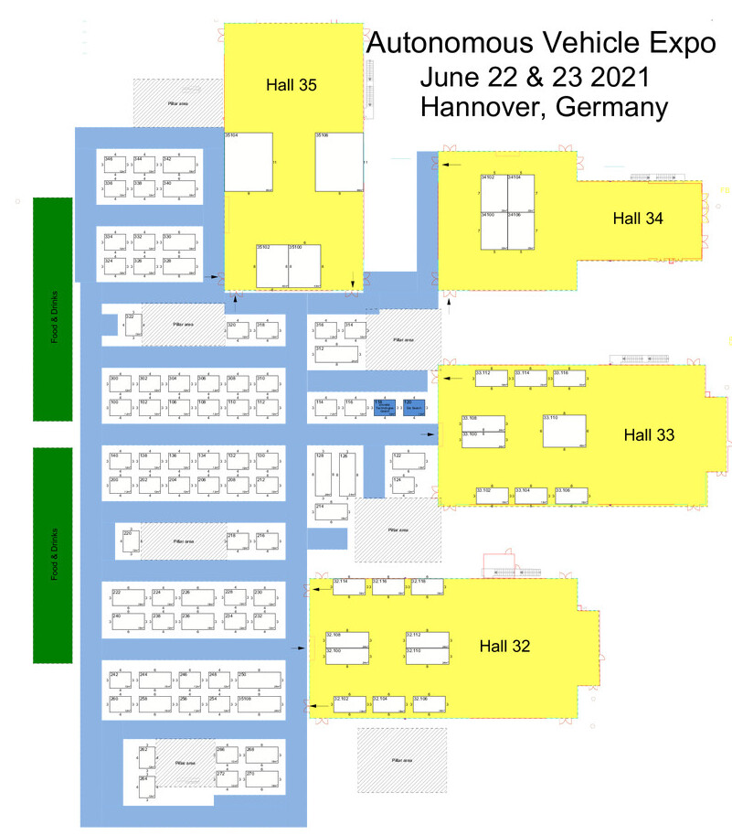 Floor plan of Autonomous Vehicle Technology World Expo exhibitor layout